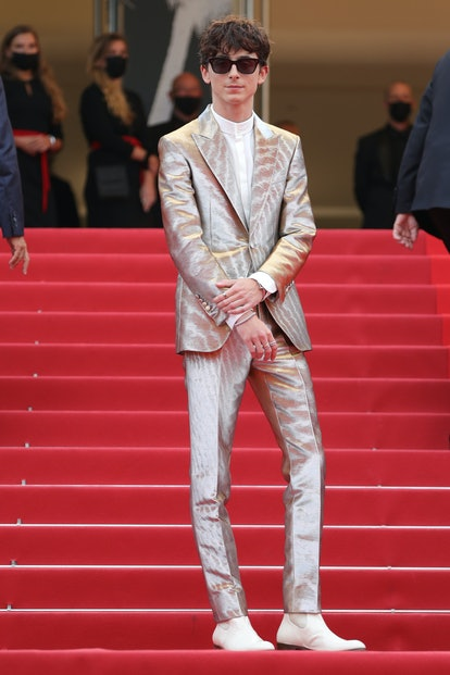 """CANNES, FRANCE - JULY 12: Timothée Chalamet attends the """"The French Dispatch"""" screening during the 7..."""