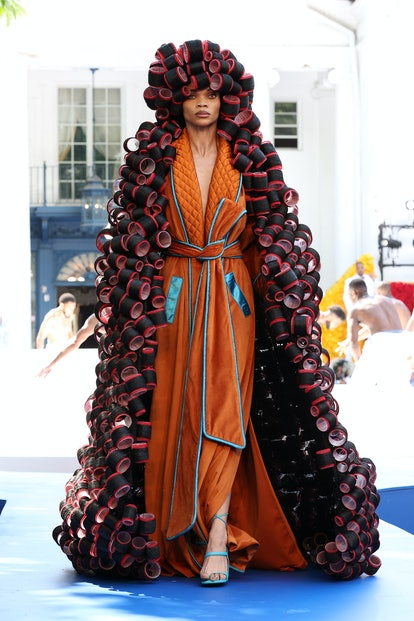 IRVINGTON, NEW YORK - JULY 10: A model walks the runway during the Pyer Moss Couture Haute Couture Fall/Winter 2021/2022 show as part of Paris Fashion Week on July 10, 2021 in Irvington, New York. (Photo by Cindy Ord/WireImage )