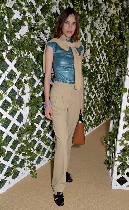 LONDON, ENGLAND - JULY 09: Alexa Chung attends the Polo Ralph Lauren VIP suite during Wimbledon at All England Lawn Tennis and Croquet Club on July 9, 2021 in London, England. (Photo by David M. Benett/Dave Benett/Getty Images for Ralph Lauren)