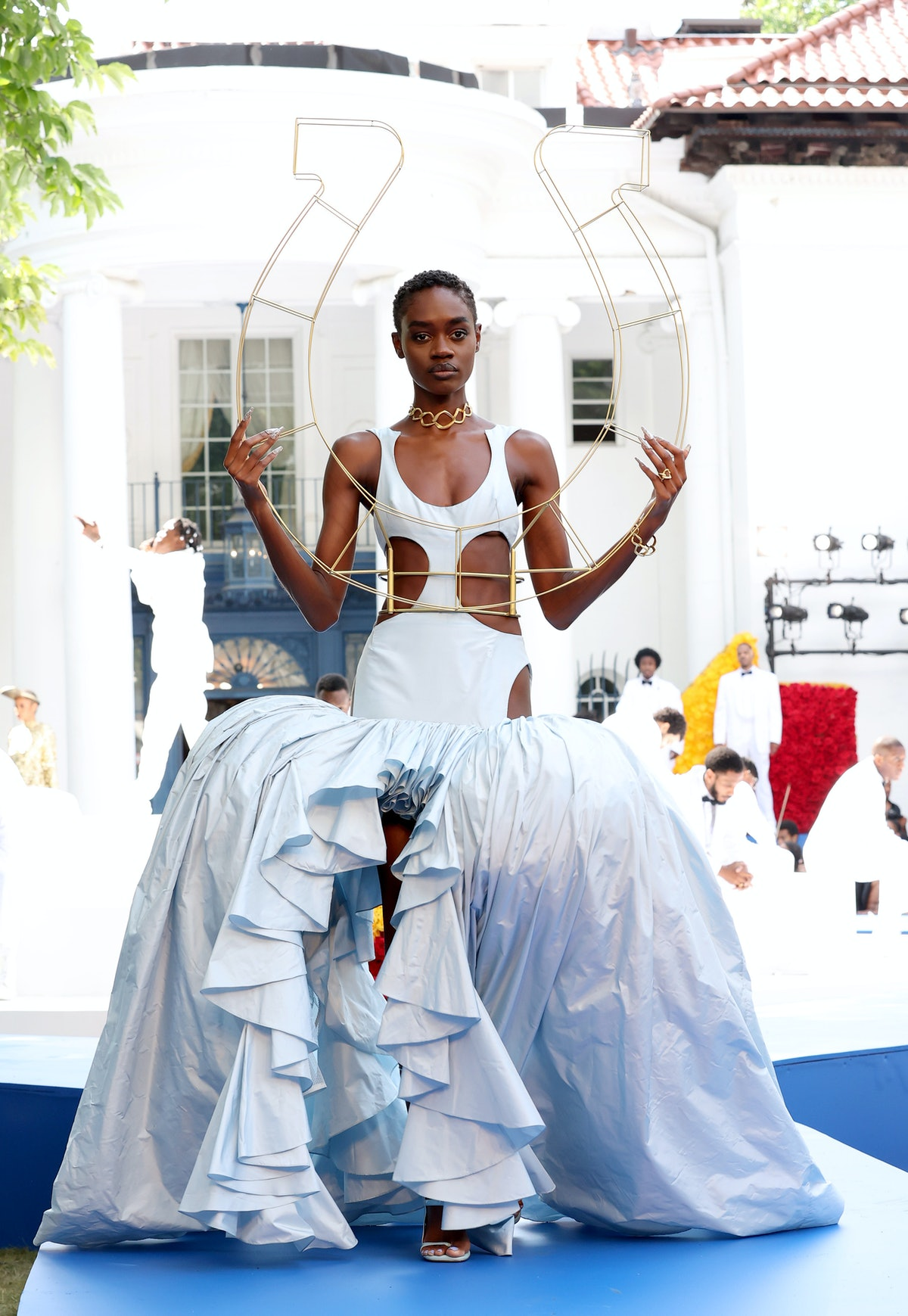 IRVINGTON, NEW YORK - JULY 10: A model walks the runway during the Pyer Moss Couture Haute Couture F...