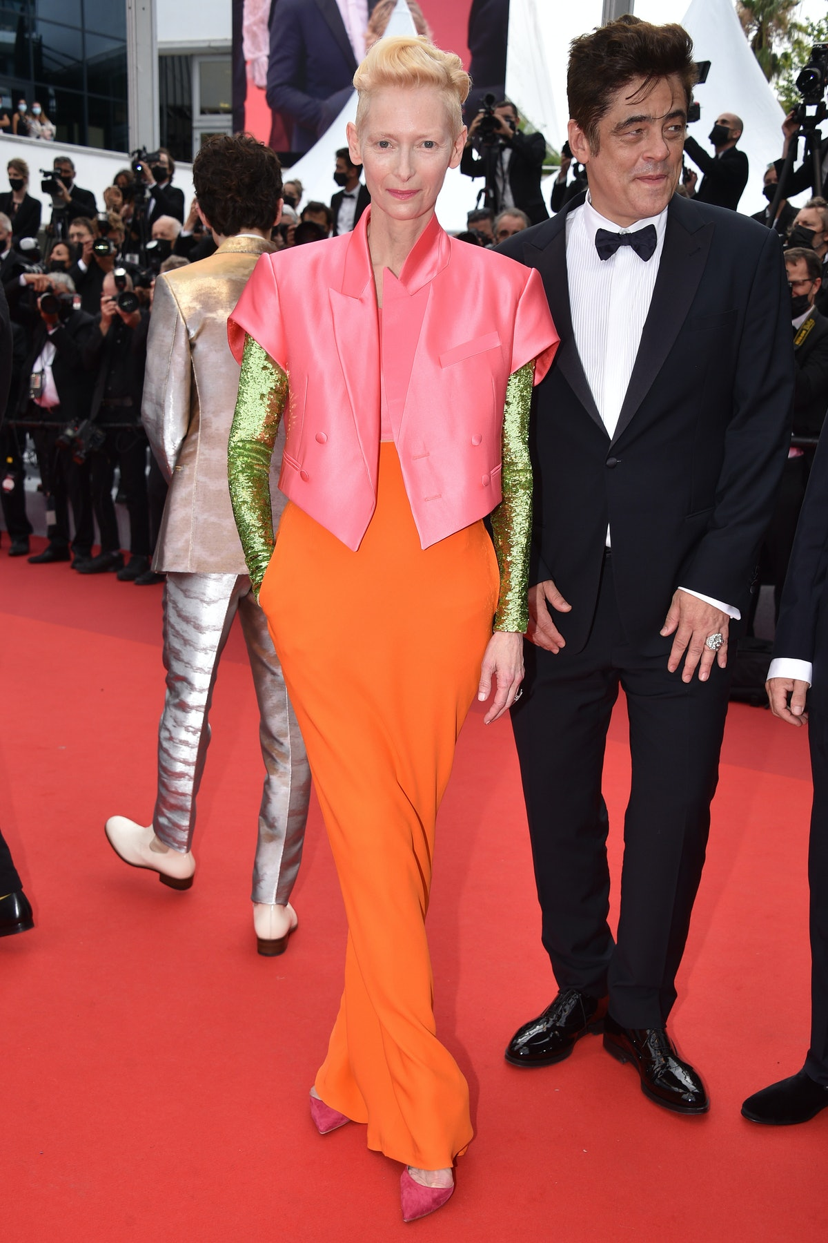 """CANNES, FRANCE - JULY 12: Tilda Swinton attends the """"The French Dispatch"""" screening during the 74th annual Cannes Film Festival on July 12, 2021 in Cannes, France. (Photo by Lionel Hahn/Getty Images)"""