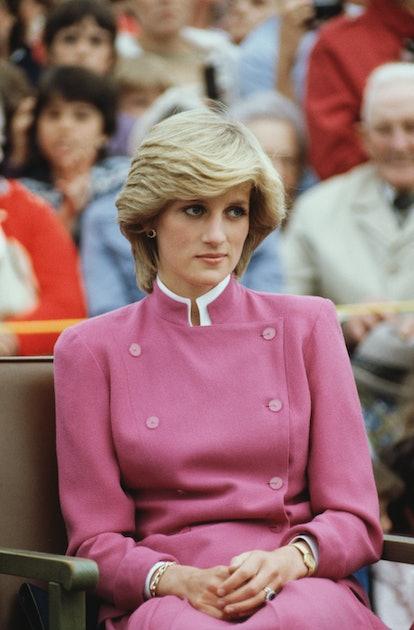 Princess Diana wearing an '80s mushroom lob while in Canada.
