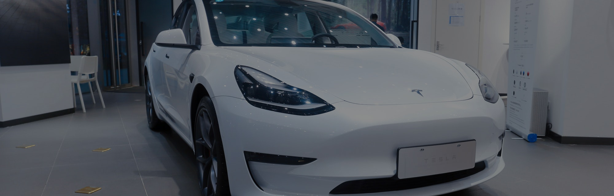 SHANGHAI, CHINA - MAY 7, 2021 - A new energy electric car is seen at Tesla's flagship store in Shang...