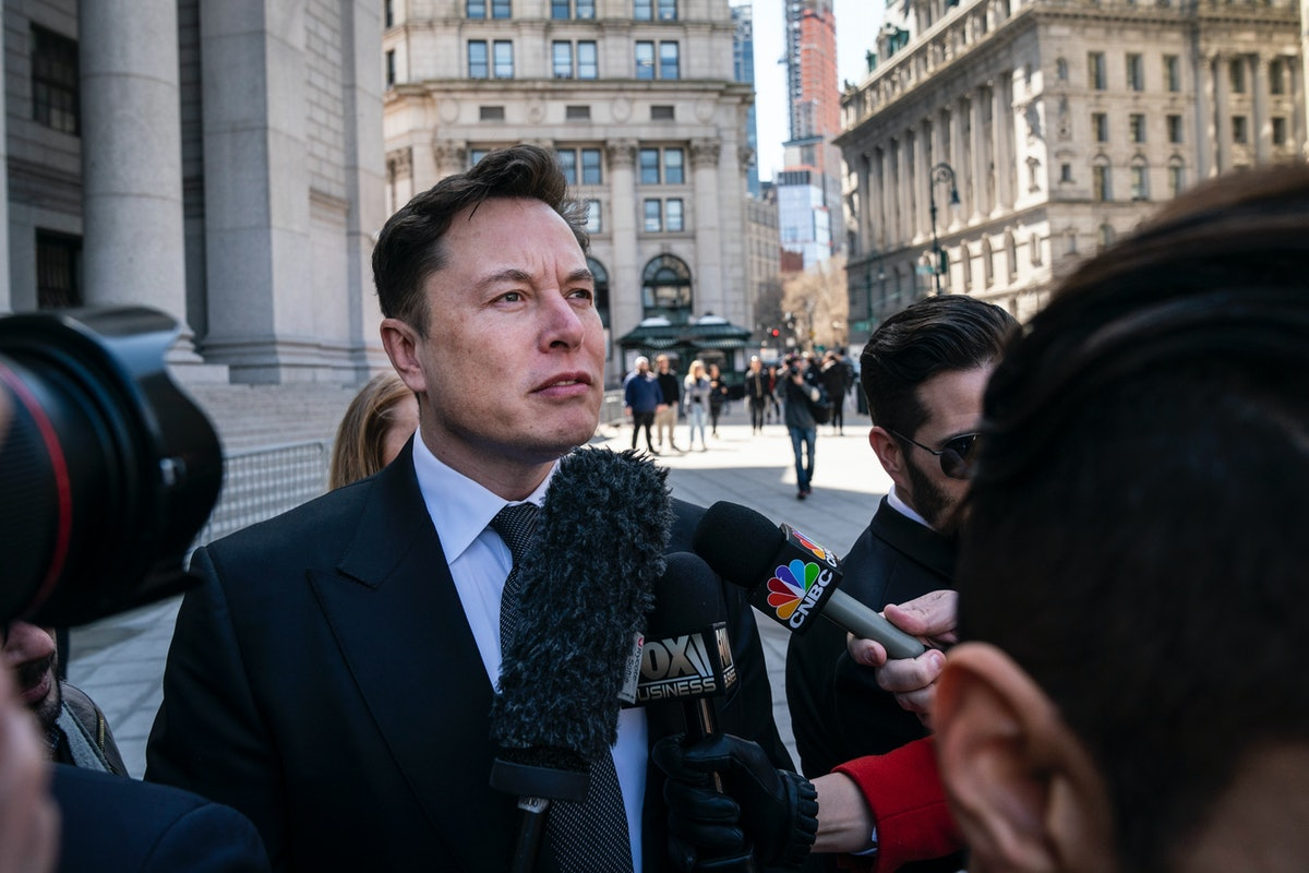 NEW YORK, NY - APRIL 4: Tesla CEO Elon Musk arrives at federal court, April 4, 2019 in New York City...