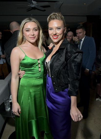Florence Pugh and Scarlett Johansson attend the afterparty for 'Marriage Story.' Photo via Getty Images