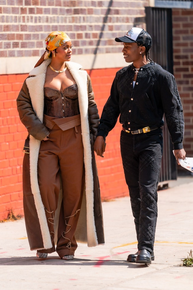 NEW YORK, NEW YORK - JULY 10: Rihanna (L) and A$AP Rocky are seen filming a music video in the Bronx...