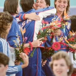 Team USA celebrates after winning the gold medal at the 1984 Summer Olympics. Can Olympic athletes d...
