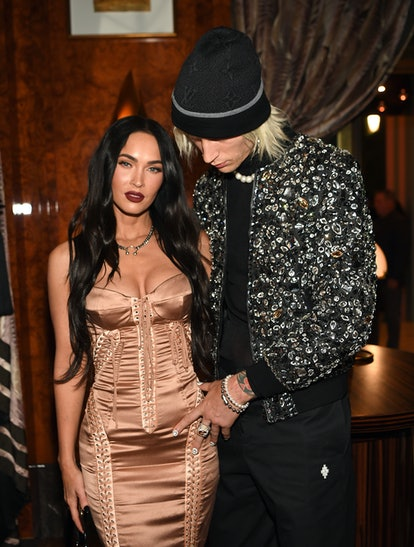 LAS VEGAS, NEVADA - JULY 10: (L-R) Megan Fox and Machine Gun Kelly attend h.wood Group's grand openingof Delilah at Wynn Las Vegas on July 10, 2021 in Las Vegas, Nevada. (Photo by Denise Truscello/Getty Images for Wynn Las Vegas)