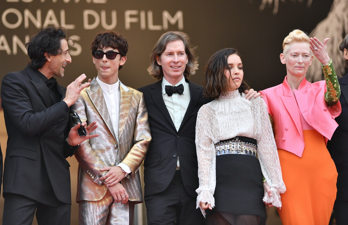 CANNES, FRANCE - JULY 12: Us director Wes Anderson (C), Us actor Adrien Brody (L), French-Algerian a...