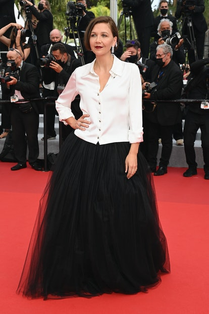 """CANNES, FRANCE - JULY 12: Maggie Gyllenhaal attends the """"The French Dispatch"""" screening during the 7..."""