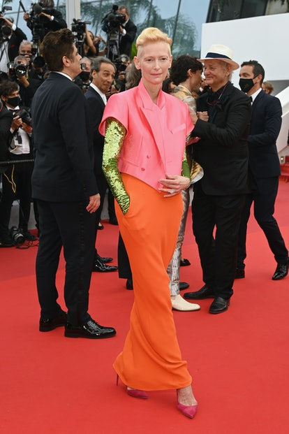 """CANNES, FRANCE - JULY 12: Tilda Swinton attends the """"The French Dispatch"""" screening during the 74th ..."""