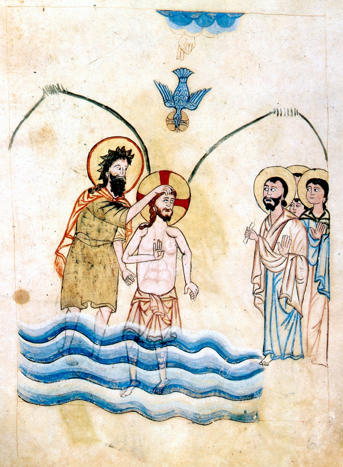 'The Baptism of Jesus by St John the Baptist', c1334. St John and Jesus, with his hand lifted in ble...