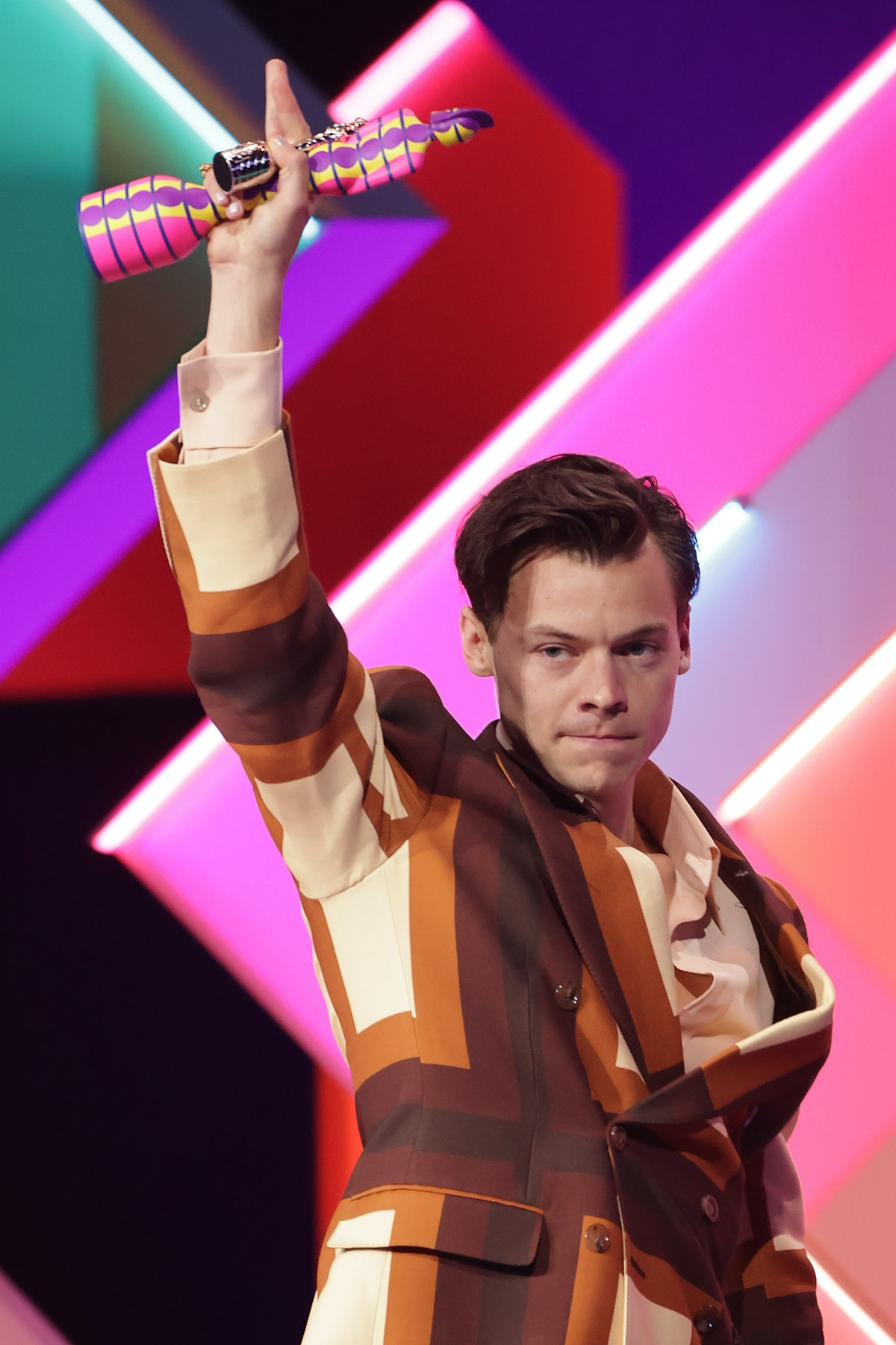 LONDON, ENGLAND - MAY 11:    Harry Styles accepts the Best Single award for Watermelon Sugar at The ...