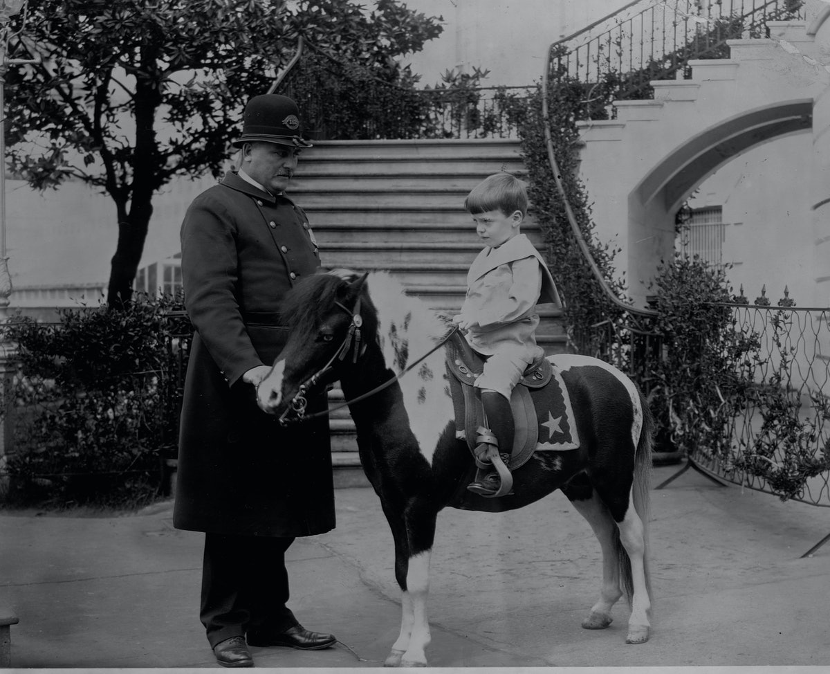 Son of Theodore Roosevelt's son Quentin rides a pony on the White Grounds.   (Photo by Library of Co...