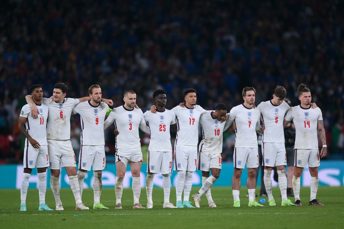 LONDON, ENGLAND - JULY 11: Players of England look on in a penalty shoot out during the UEFA Euro 20...
