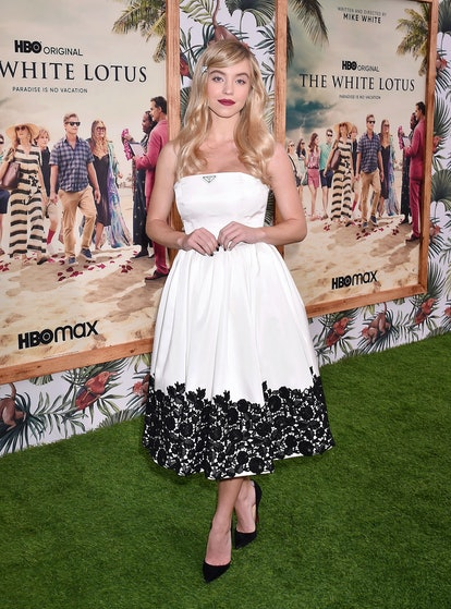 """PACIFIC PALISADES, CALIFORNIA - JULY 07: Sydney Sweeney attends the Los Angeles Premiere of the new HBO Limited Series """"The White Lotus"""" on July 07, 2021 in Pacific Palisades, California. (Photo by FilmMagic/FilmMagic for HBO)"""