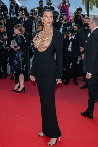 """CANNES, FRANCE - JULY 11: Model Bella Hadid attends the """"Tre Piani (Three Floors)"""" screening during ..."""