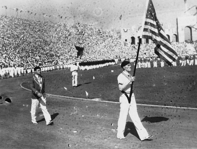 The opening ceremony of the 1932 Summer Olympics at the Memorial Coliseum in Los Angeles, California...