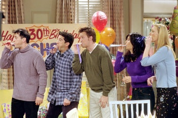 """385848 28: Cast members of NBC's comedy series """"Friends."""" Pictured (l to r): Matt LeBlanc as Joey Tr..."""