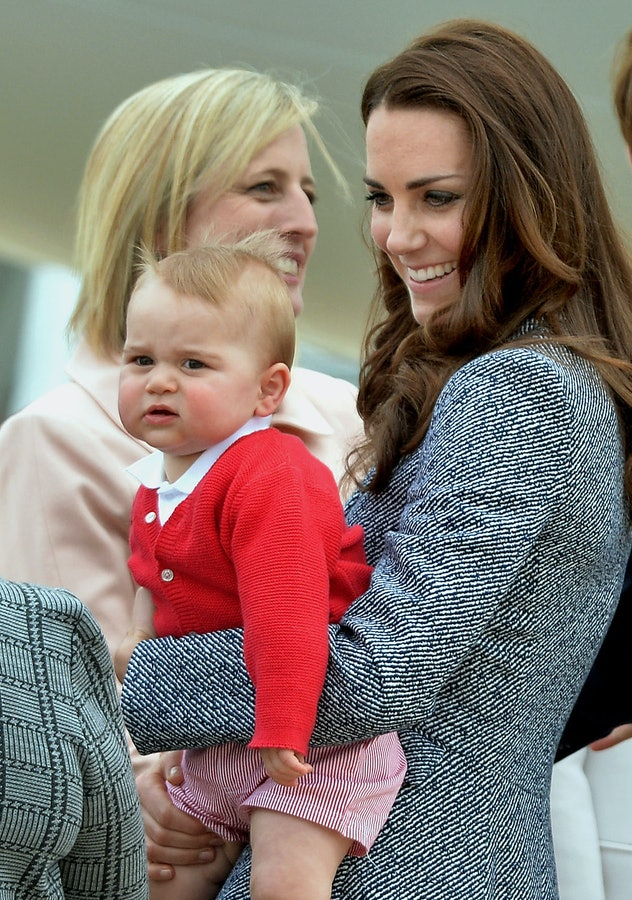 Prince George wore gingham shorts.