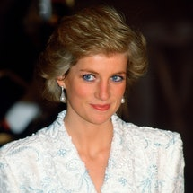 FRANCE - NOVEMBER 09:  Diana, Princess  Of Wales, Wearing A White And Blue Lace And Sequin Evening C...