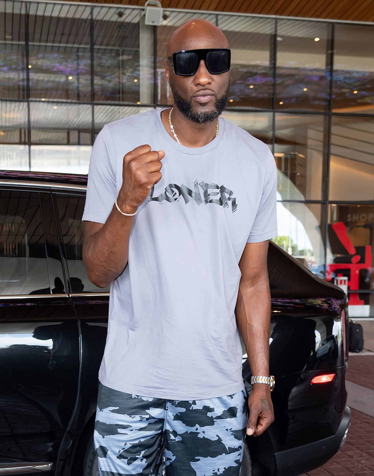 Lamar Odom attends his Celebrity Boxing contract signing to defend his title in an upcoming match at...