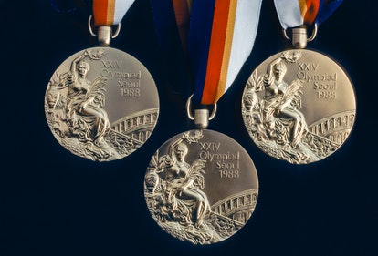 An Olympic Gold Medal awarded during the 1988 Olympic Games held in Seoul, South Korea. Team USA mem...