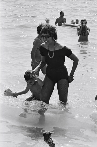 Josephine Baker and her adopted children on holiday in France on August 25th, 1964