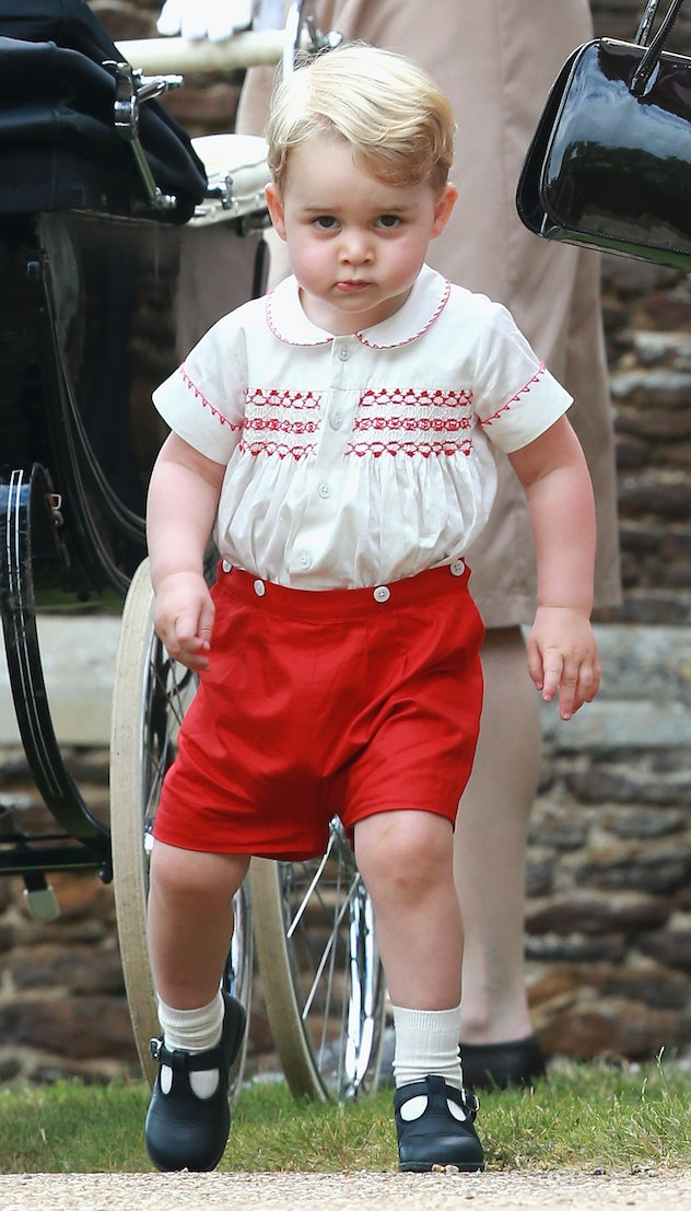 Prince George wore his dad's shorts.