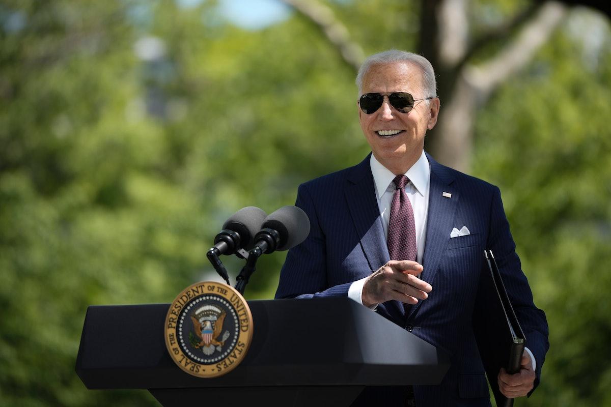 WASHINGTON, DC - APRIL 27: U.S. President Joe Biden speaks about updated CDC mask guidance on the No...