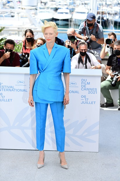 """CANNES, FRANCE - JULY 13: Tilda Swinton attends the """"The French Dispatch"""" photocall during the 74th ..."""