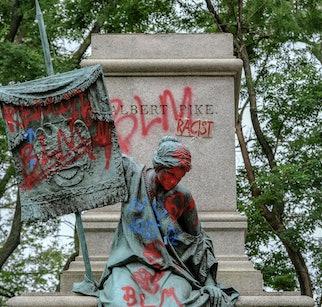 WASHINGTON, DC - June 20, 2020: The pedestal where the statue of Confederate general Albert Pike rem...