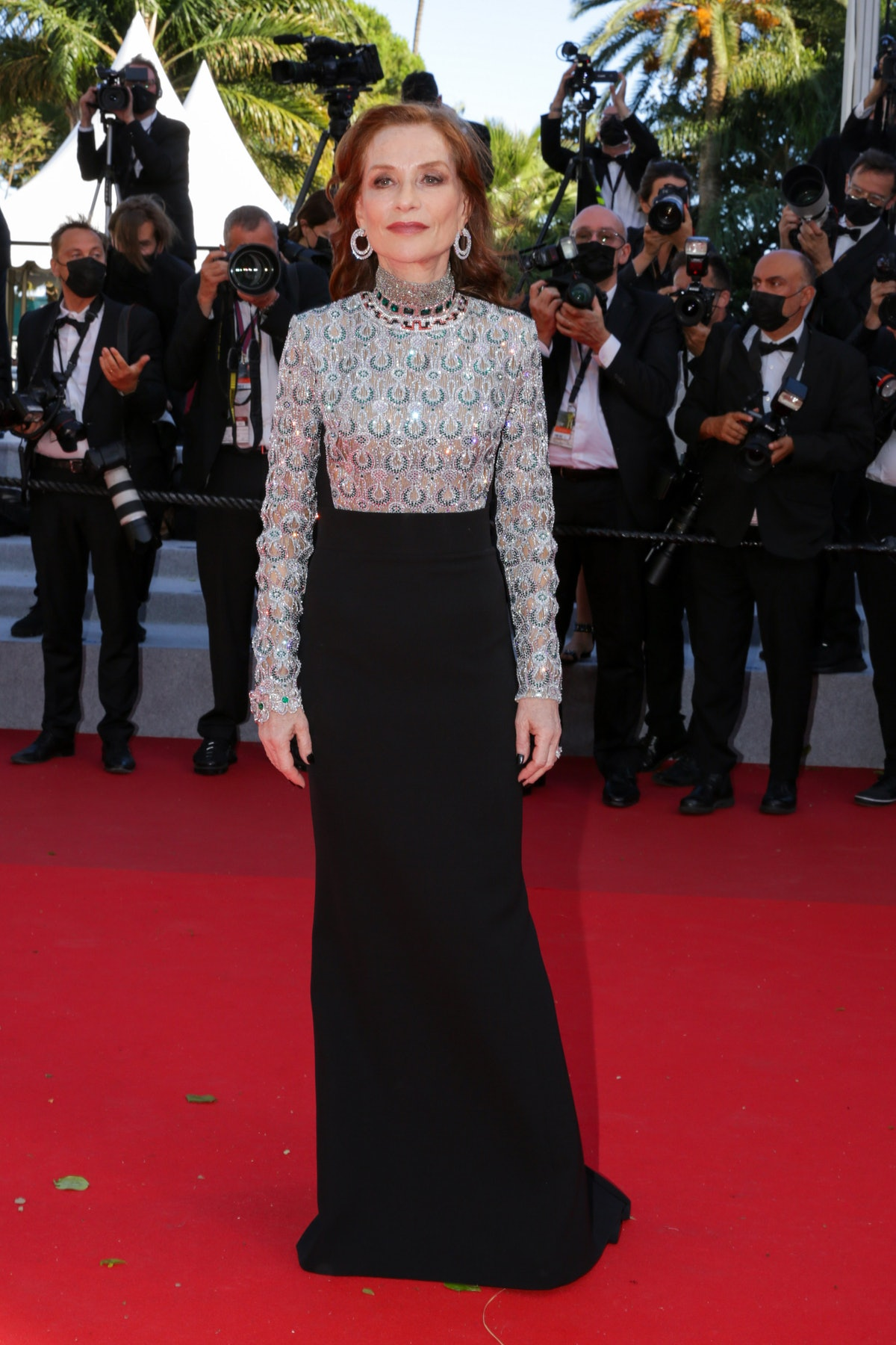 """CANNES, FRANCE - JULY 13: Isabelle Huppert  attends the """"Aline, The Voice Of Love"""" screening during the 74th annual Cannes Film Festival on July 13, 2021 in Cannes, France. (Photo by Stephane Cardinale - Corbis/Corbis via Getty Images)"""