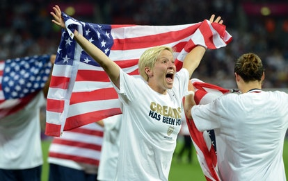 Megan Rapinoe shows excitement after gaining gold at the 2012 Olympics.