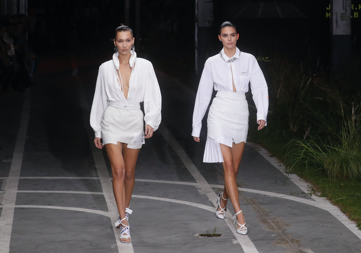 PARIS, FRANCE - SEPTEMBER 27:  Bella Hadid and Kendall Jenner walk the runway during the Off-White show as part of the Paris Fashion Week Womenswear Spring/Summer 2019 on September 27, 2018 in Paris, France.  (Photo by Richard Bord/Getty Images)
