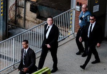 WILMINGTON, DE - JULY 12: Tesla Founder Elon Musk leaves a courthouse after testifying in a court ca...