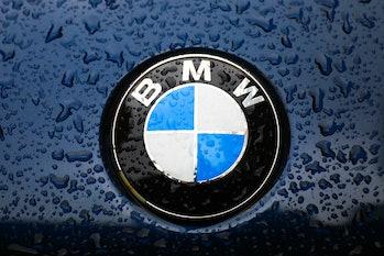 BMW car emblem is covered with raindrops. Krakow, Poland on April 16, 2021 (Photo by Beata Zawrzel/N...