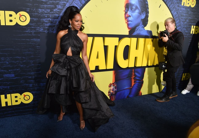"""US actress Regina King arrives for the Los Angeles premiere of the new HBO series """"Watchmen"""" at the ..."""