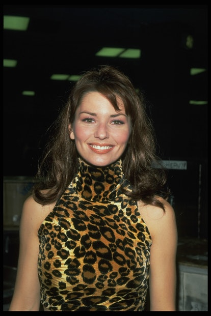 '90s icon Shania Twain wears her signature leopard print on the red carpet.