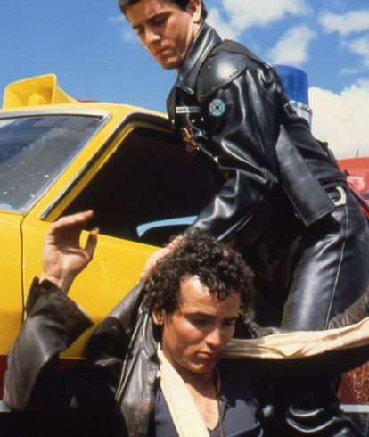 American actor Mel Gibson and English actor Hugh Keays-Byrne on the set of Mad Max written and direc...