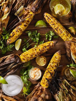 Mexican Style Street Corn with condiments