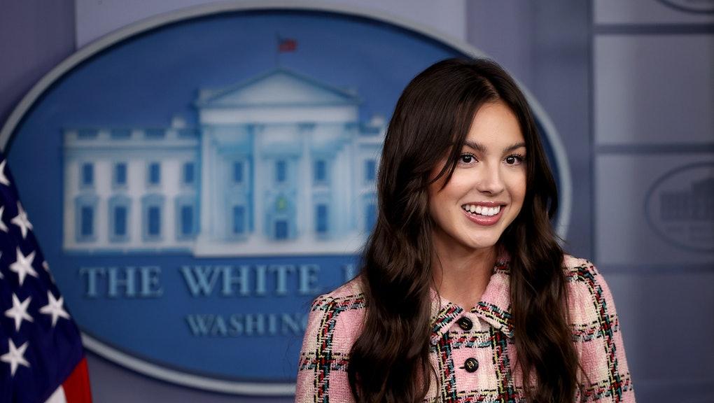 WASHINGTON, DC - JULY 14:  Pop music star and Disney actress Olivia Rodrigo makes a brief statement ...