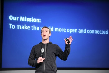 Mark Zuckerberg announces a redesign of  Facebook's  News Feed during a press conference at it's hea...