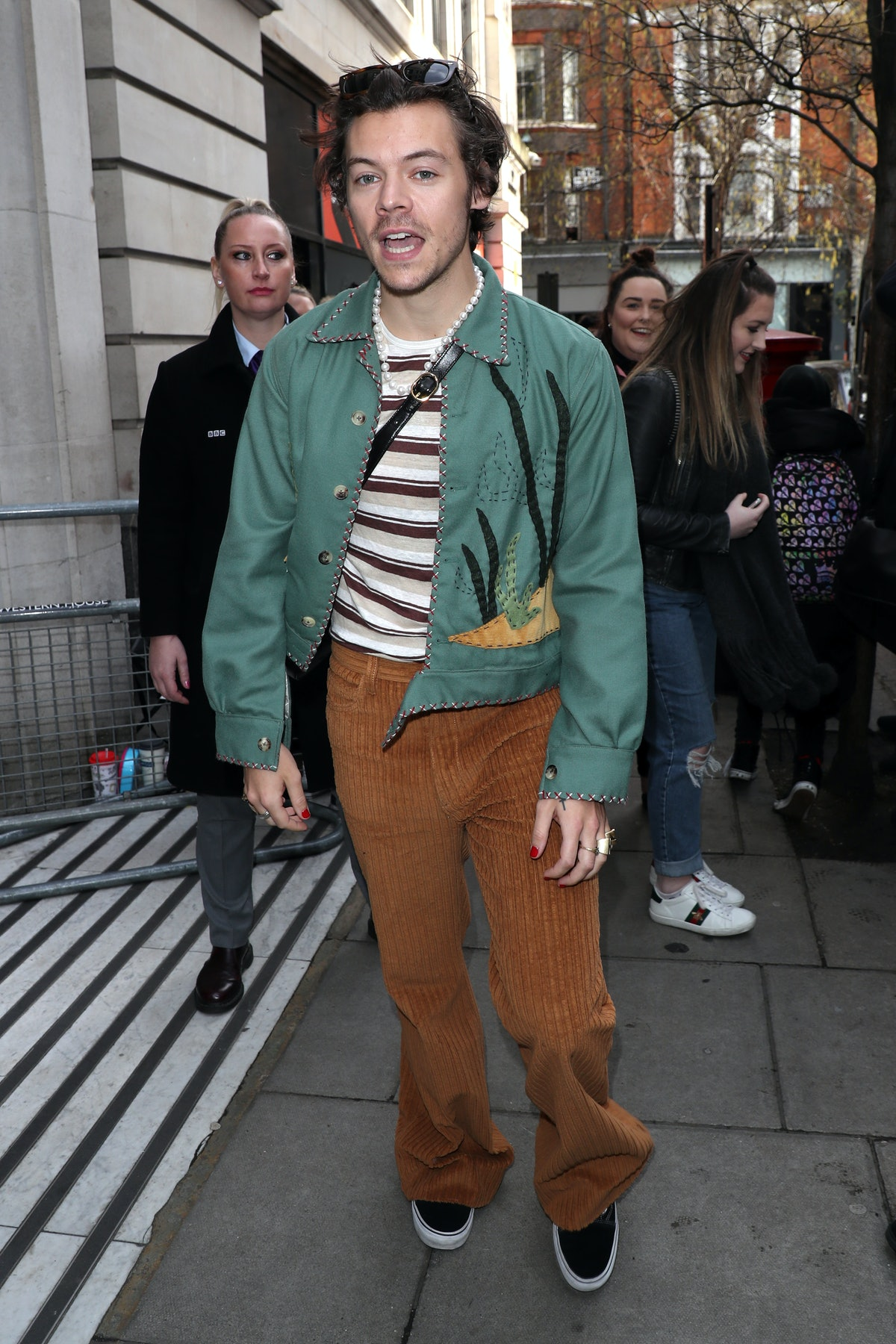 LONDON, ENGLAND - FEBRUARY 14:  Harry Styles leaving BBC Radio 2 on February 14, 2020 in London, Eng...