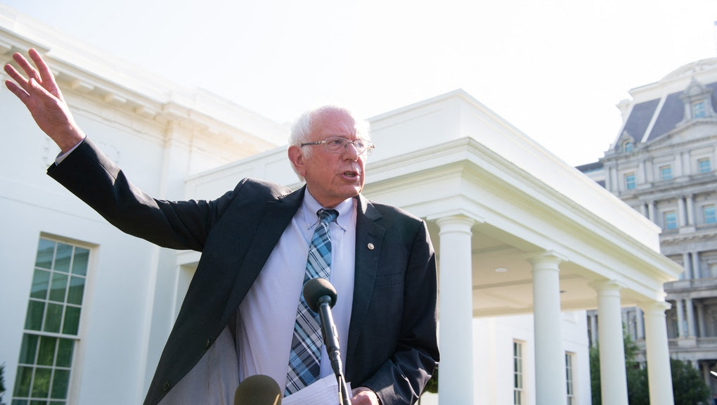 US Senator Bernie Sanders (I-VT), speaks to the media outside the West Wing of the White House in Wa...