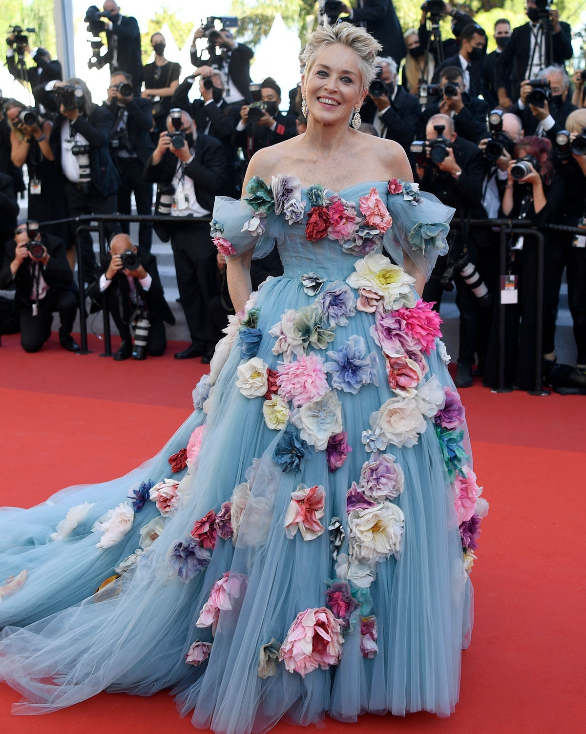 """US actress Sharon Stone arrives for the screening of the film """"A Felesegem Tortenete"""" (The Story Of My Wife) at the 74th edition of the Cannes Film Festival in Cannes, southern France, on July 14, 2021. (Photo by CHRISTOPHE SIMON / AFP) (Photo by CHRISTOPHE SIMON/AFP via Getty Images)"""