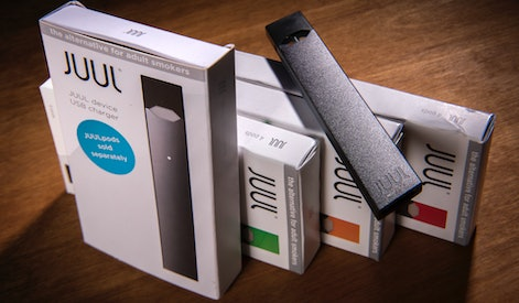WASHINGTON, DC - MAY 2: A Juul vaping system with accessory pods in varying flavors on May, 02, 2018...