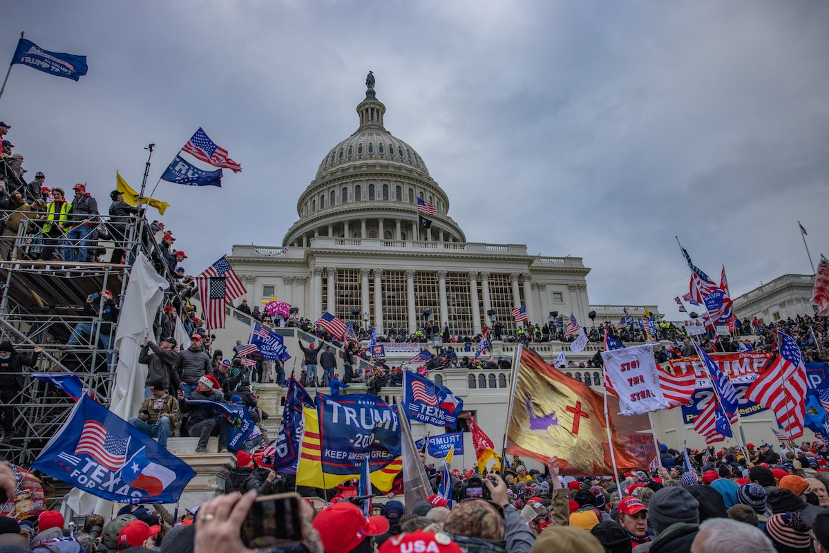 WASHINGTON,DC-JAN6: Supporters of President Trump storm the United States Capitol building.  (Photo ...