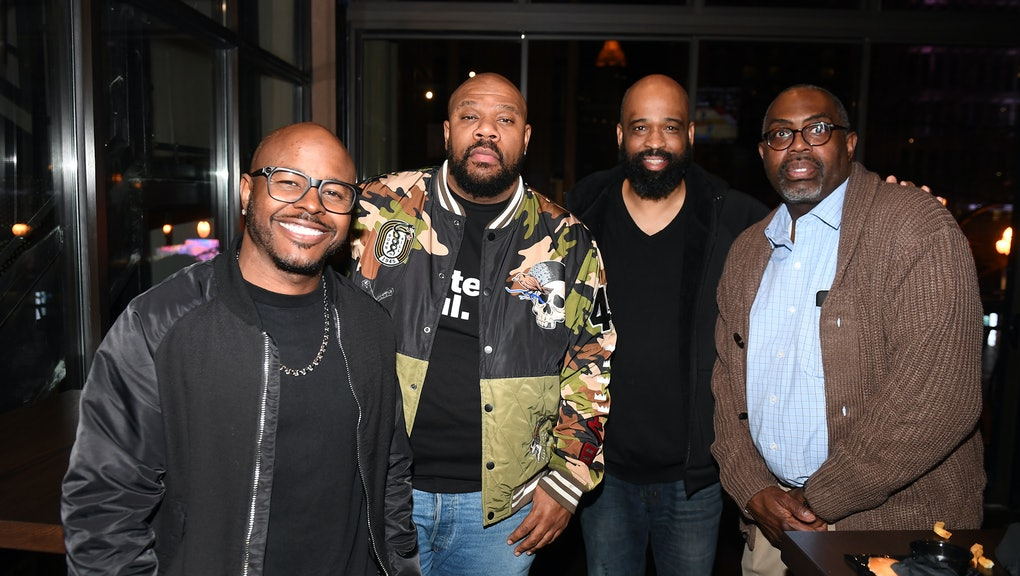 ATLANTA, GEORGIA - JANUARY 27:  Issac Hayes III (2nd from L) and guests attend Wahlburgers Peachtree...