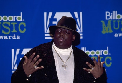 '90s Rapper Notorious B.I.G. AKA Biggie Smalls (Christopher Wallace) attends red carpet event.